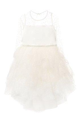 Детское платье с прозрачными рукавами ALETTA белого цвета, арт. AZ99012/4A-8A | Фото 1