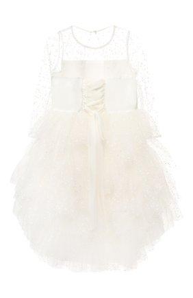 Детское платье с прозрачными рукавами ALETTA белого цвета, арт. AZ99012/4A-8A | Фото 2