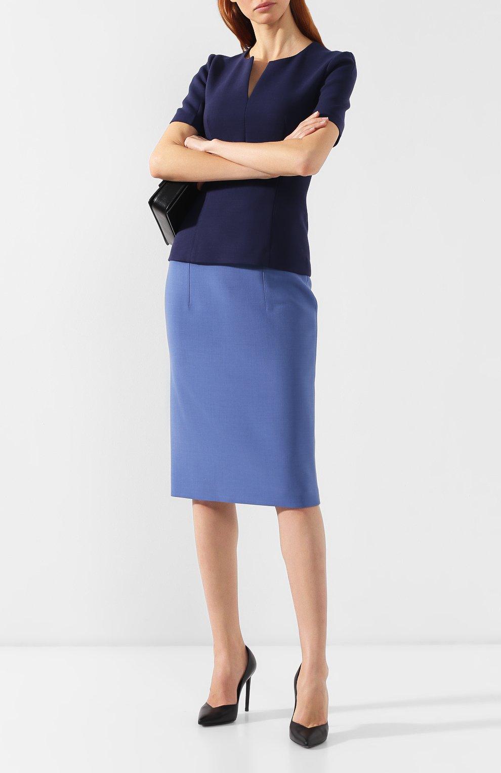 Женская юбка-карандаш BOSS голубого цвета, арт. 50400506 | Фото 2