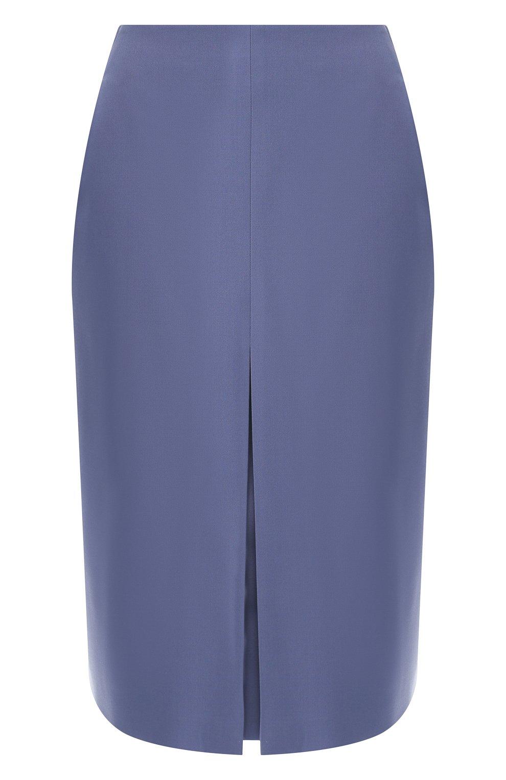 Женская шерстяная юбка BOSS голубого цвета, арт. 50400501   Фото 1