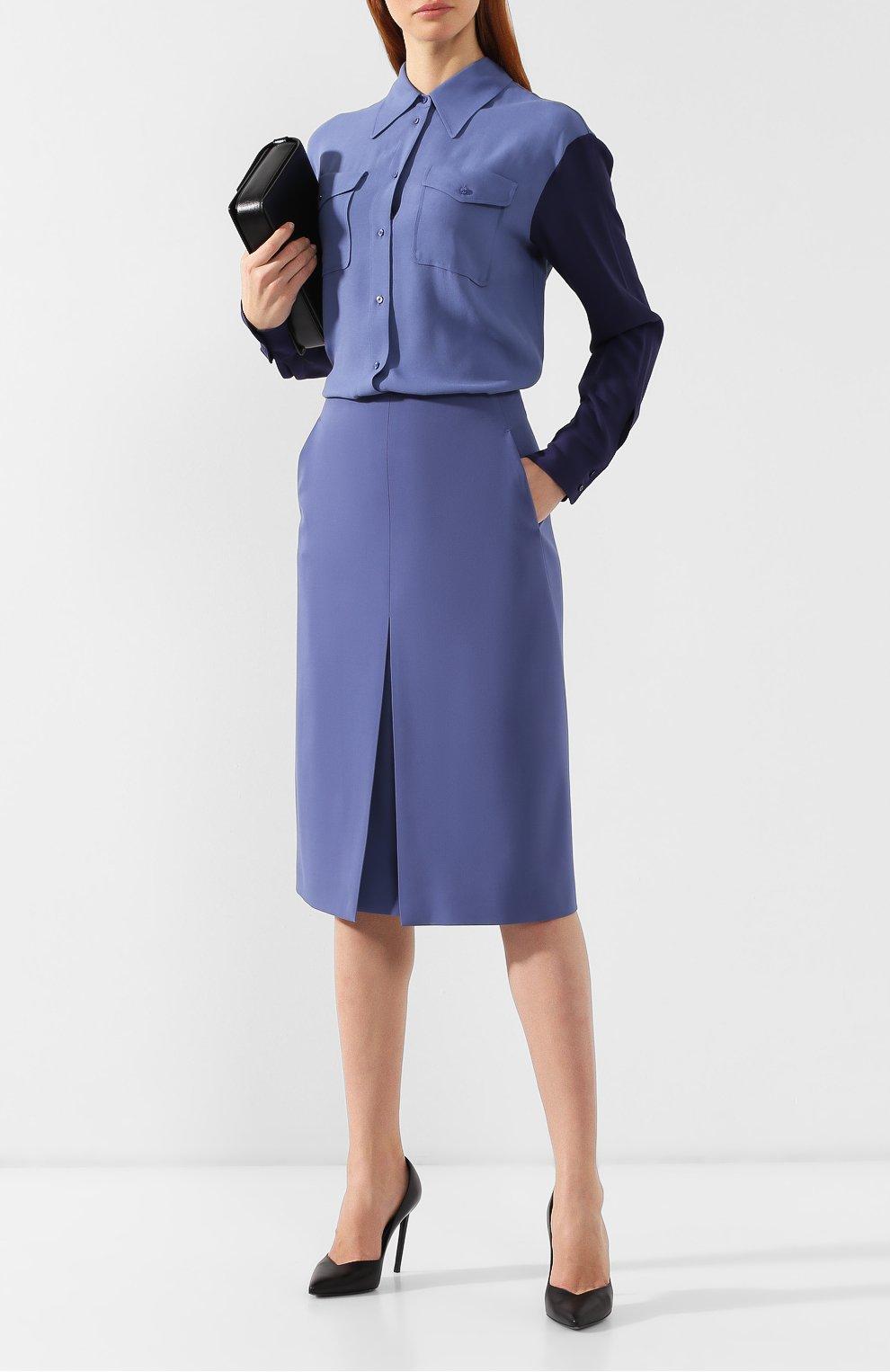 Женская шерстяная юбка BOSS голубого цвета, арт. 50400501   Фото 2