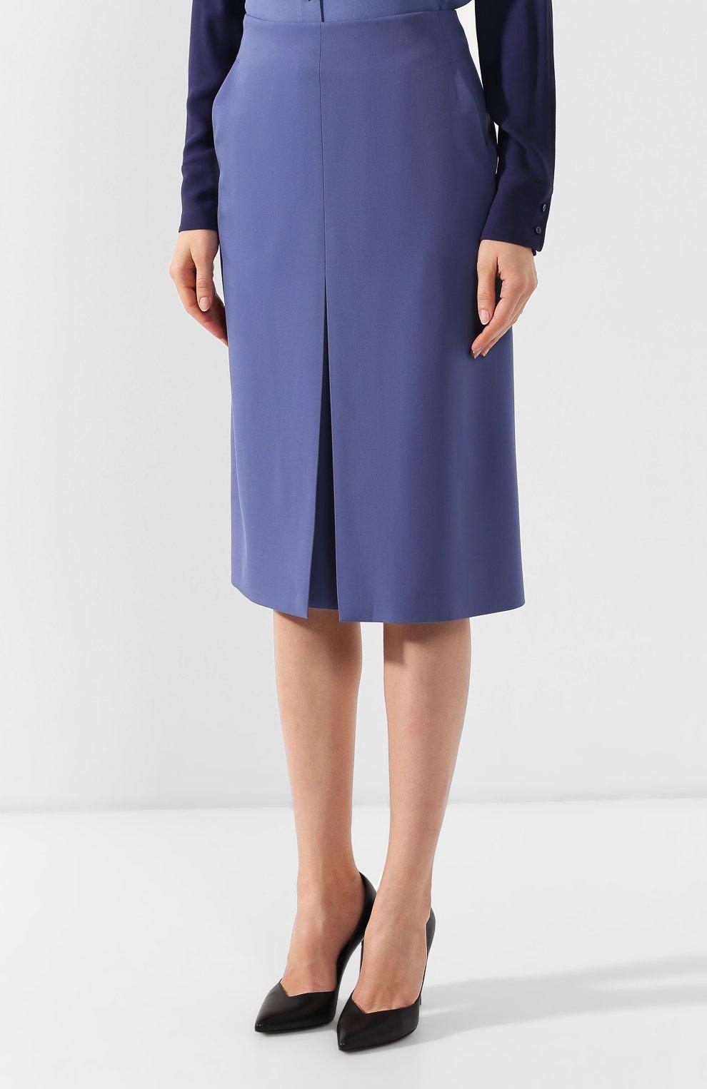 Женская шерстяная юбка BOSS голубого цвета, арт. 50400501   Фото 3
