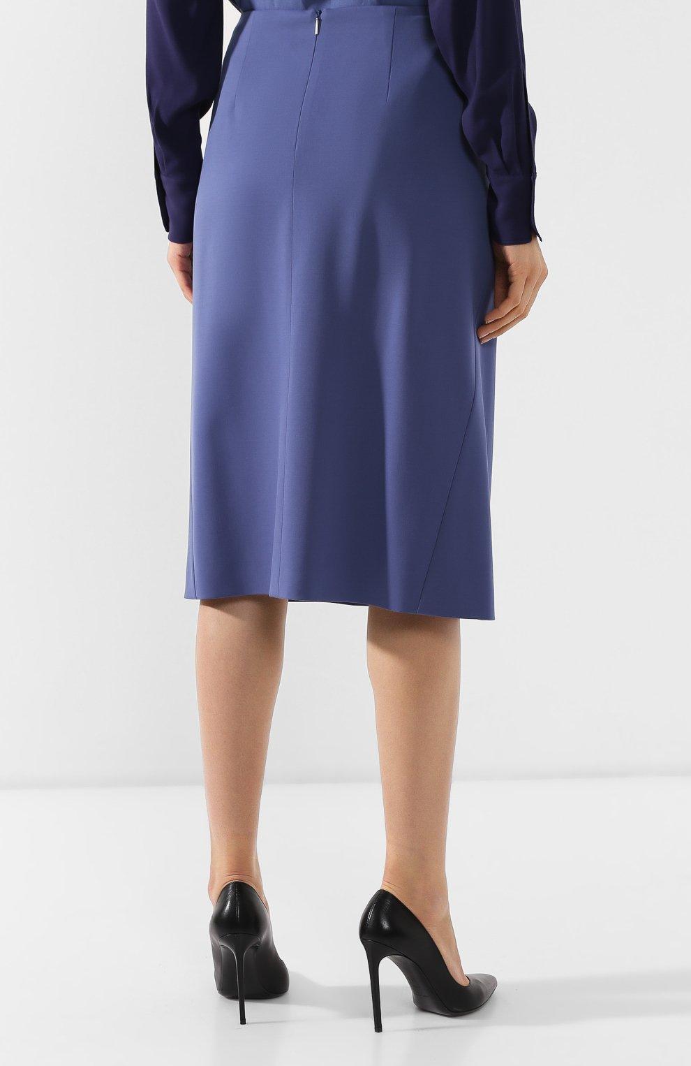 Женская шерстяная юбка BOSS голубого цвета, арт. 50400501   Фото 4