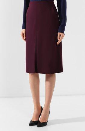 Женская шерстяная юбка BOSS бордового цвета, арт. 50400501 | Фото 3