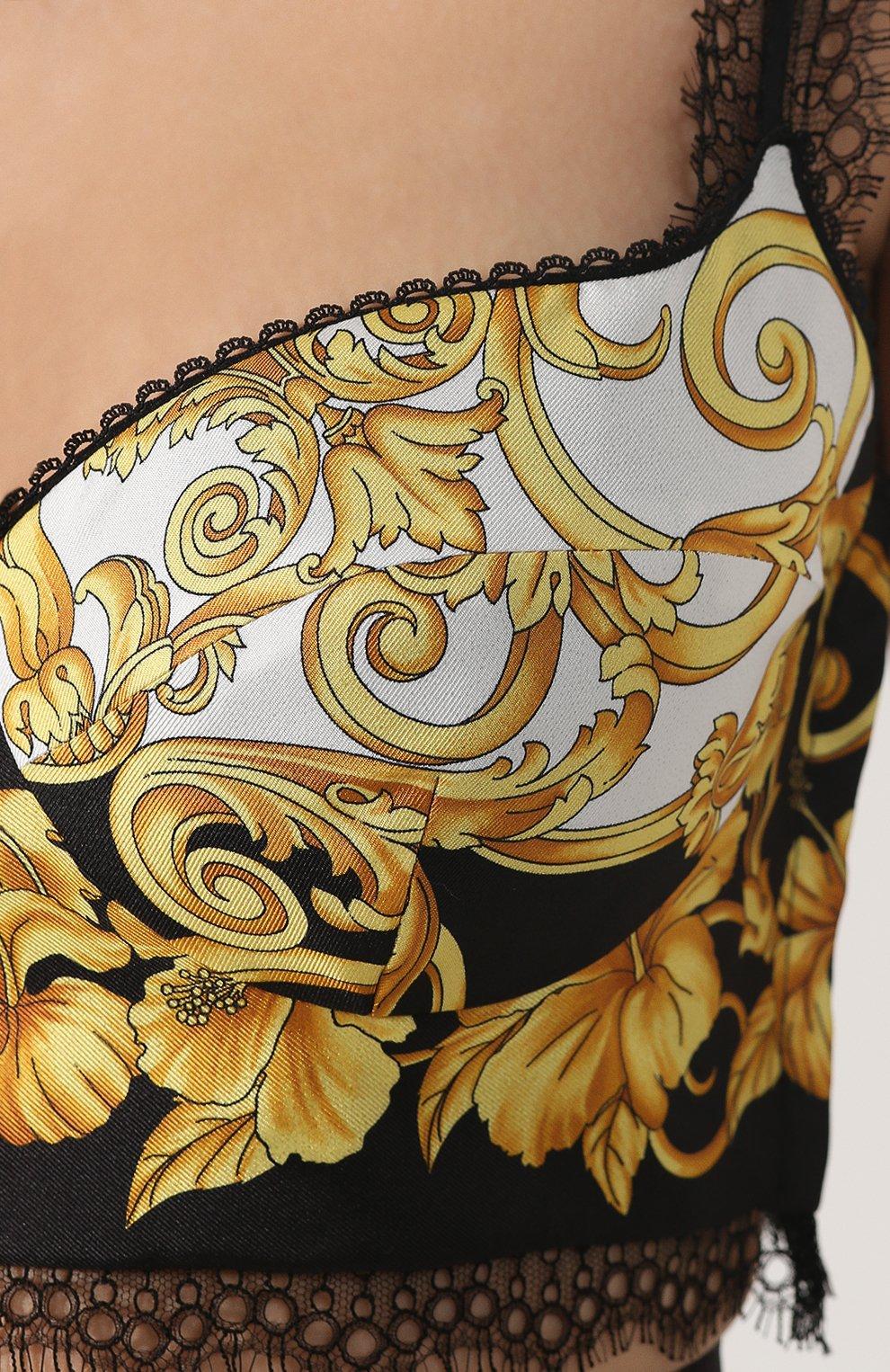 Шелковый топ-бюстье Versace разноцветный | Фото №5