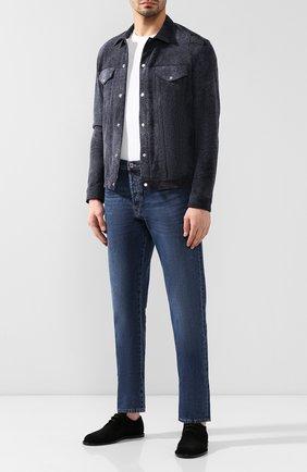 Мужская кожаная куртка ANDREA CAMPAGNA темно-синего цвета, арт. 40200E11Q7000   Фото 2