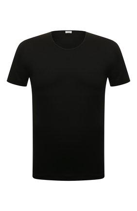 Мужская хлопковая футболка  ZIMMERLI черного цвета, арт. 286-1441 | Фото 1