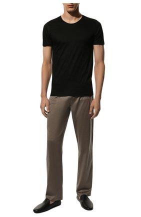 Мужские хлопковая футболка  ZIMMERLI черного цвета, арт. 286-1441 | Фото 2