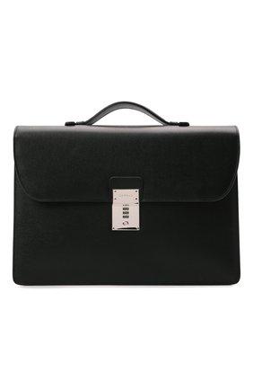 Мужской кожаный портфель stuoia CANALI черного цвета, арт. P325340/NA00053 | Фото 1