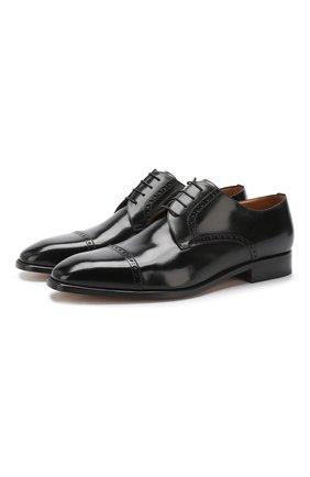 Мужской кожаные дерби  CORNELIANI черного цвета, арт. 83TMW3-9120901 | Фото 1