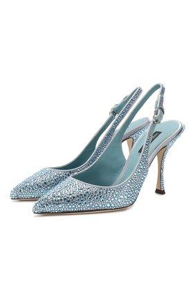 Женская атласные туфли lori  DOLCE & GABBANA голубого цвета, арт. CG0308/AK040 | Фото 1