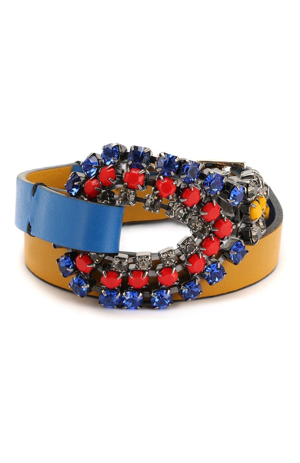Кожаный браслет с отделкой кристаллами Marni синий   Фото №1