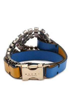Кожаный браслет с отделкой кристаллами Marni синий   Фото №2