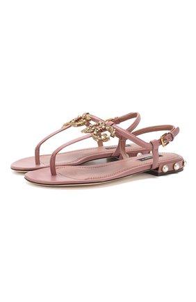 Кожаные сандалии DG Amore Dolce & Gabbana бежевые | Фото №1
