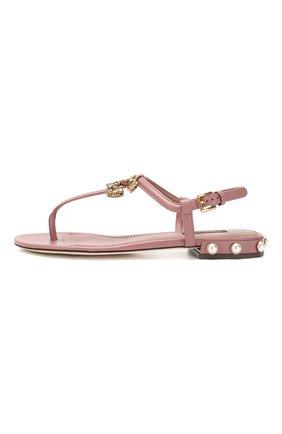 Кожаные сандалии DG Amore Dolce & Gabbana бежевые | Фото №3