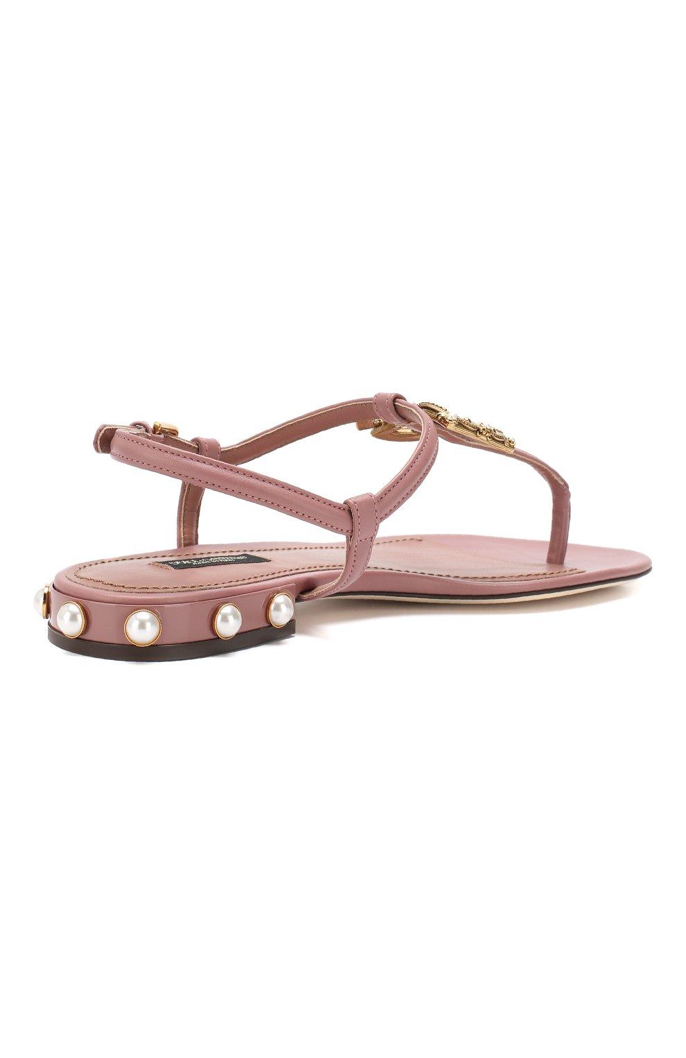 Кожаные сандалии DG Amore Dolce & Gabbana бежевые | Фото №4