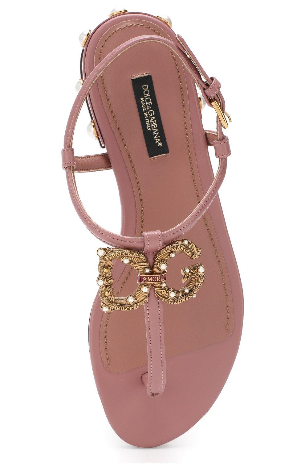 Кожаные сандалии DG Amore Dolce & Gabbana бежевые | Фото №5