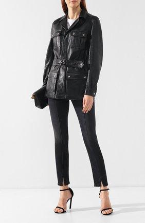 Женская кожаная куртка SAINT LAURENT черного цвета, арт. 483858/Y5QQ2 | Фото 2