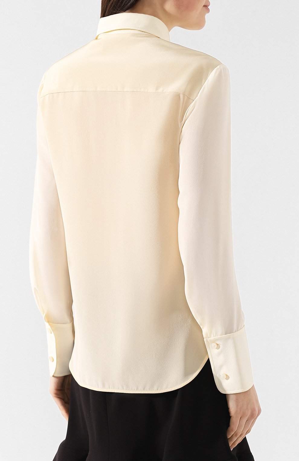 Шелковая рубашка Chloé бежевая | Фото №4