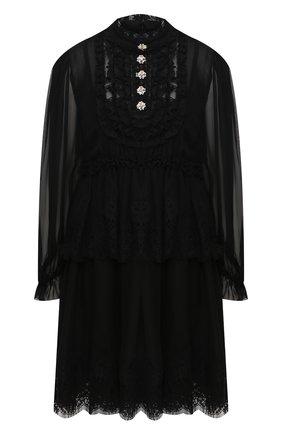 Женское платье из смеси шелка и хлопка DOLCE & GABBANA черного цвета, арт. F6C2TZ/FU1AT | Фото 1 (Материал внешний: Шелк; Рукава: Длинные; Длина Ж (юбки, платья, шорты): Мини; Случай: Повседневный; Стили: Гламурный; Статус проверки: Проверена категория)