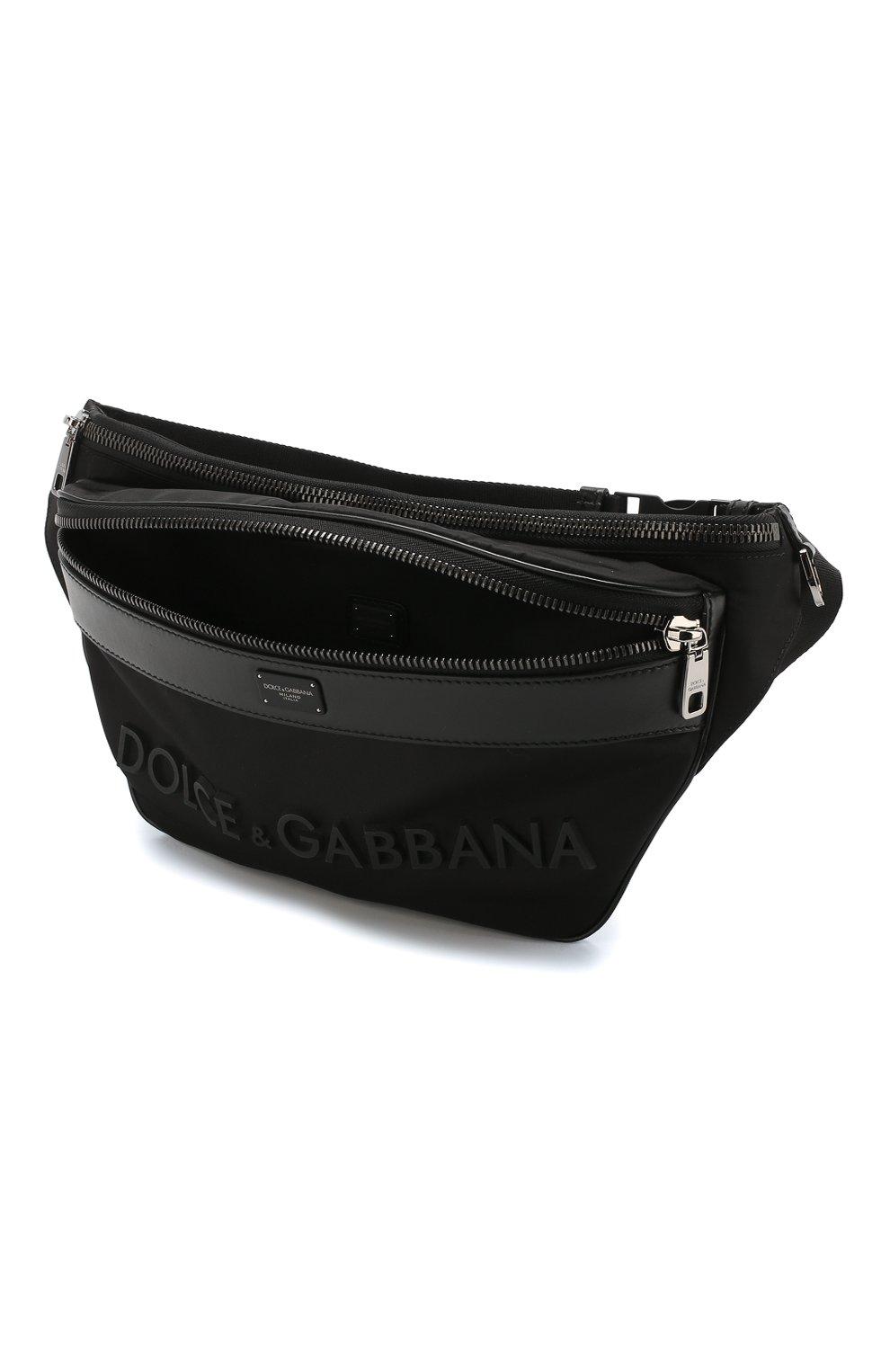 Комбинированная поясная сумка Street Dolce & Gabbana черная | Фото №4