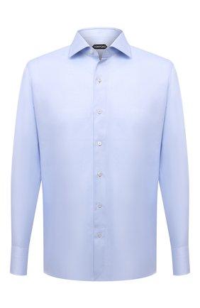 Мужская хлопковая сорочка с воротником кент TOM FORD голубого цвета, арт. 5FT192/94S3AX | Фото 1