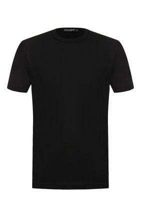 Мужская хлопковая футболка DOLCE & GABBANA черного цвета, арт. G8HI7T/FU7EQ | Фото 1 (Длина (для топов): Стандартные; Big photo: Big photo; Материал внешний: Хлопок; Мужское Кросс-КТ: Футболка-одежда; Рукава: Короткие; Принт: Без принта; Стили: Кэжуэл; Статус проверки: Проверена категория)