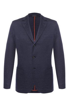 Мужской пиджак из смеси льна и кашемира LORO PIANA темно-синего цвета, арт. FAI5569 | Фото 1