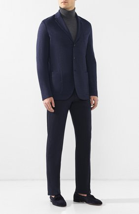 Мужской пиджак из смеси льна и кашемира LORO PIANA темно-синего цвета, арт. FAI5569 | Фото 2