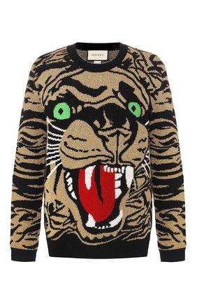 Мужской шерстяной свитер GUCCI золотого цвета, арт. 545734/XKADS   Фото 1