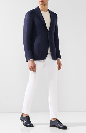 Мужской кожаные дерби SANTONI темно-синего цвета, арт. MCC013974PC4NGTHU48   Фото 2