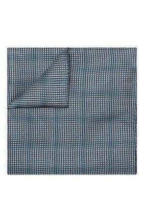 Мужской шелковый платок GIORGIO ARMANI бирюзового цвета, арт. 360023/9P940 | Фото 1