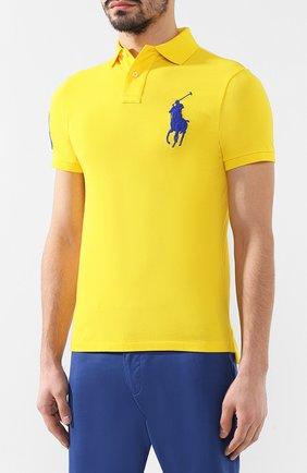 Мужское хлопковое поло POLO RALPH LAUREN желтого цвета, арт. 710692227 | Фото 3