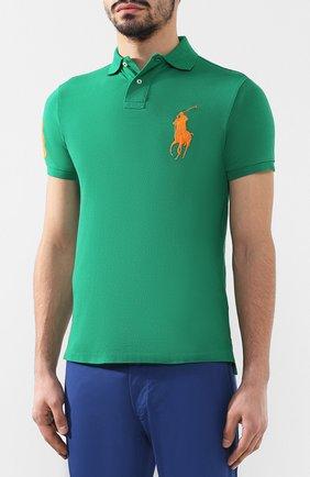 Мужское хлопковое поло POLO RALPH LAUREN зеленого цвета, арт. 710692227 | Фото 3