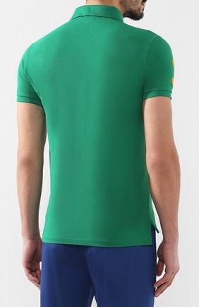 Мужское хлопковое поло POLO RALPH LAUREN зеленого цвета, арт. 710692227 | Фото 4