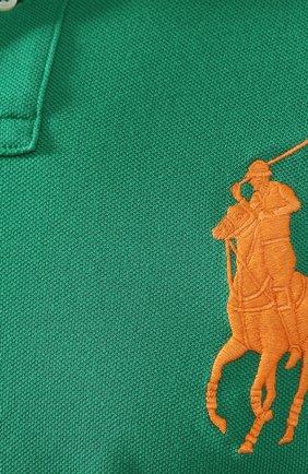Мужское хлопковое поло POLO RALPH LAUREN зеленого цвета, арт. 710692227 | Фото 5