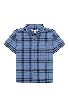 Детский хлопковая рубашка BURBERRY голубого цвета, арт. 8004936 | Фото 1