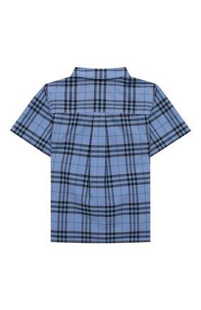 Детский хлопковая рубашка BURBERRY голубого цвета, арт. 8004936 | Фото 2