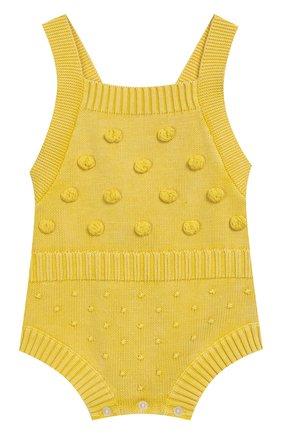 Детское хлопковый комбинезон BURBERRY желтого цвета, арт. 8006656 | Фото 1