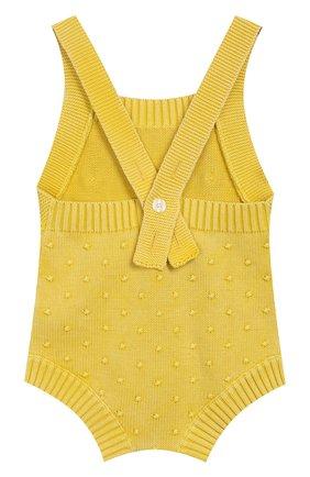 Детское хлопковый комбинезон BURBERRY желтого цвета, арт. 8006656 | Фото 2