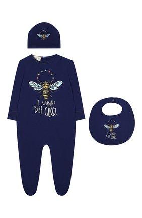 Комплект из хлопковой пижамы и шапки с нагрудником | Фото №1