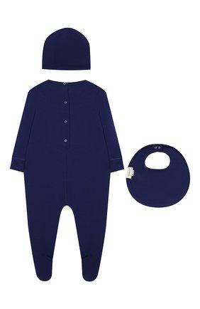 Детский комплект из хлопковой пижамы и шапки с нагрудником GUCCI синего цвета, арт. 543889/XJABI | Фото 2