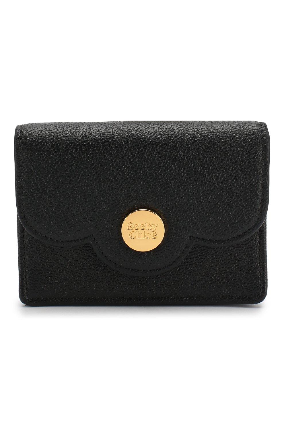 Женские кожаный кошелек SEE BY CHLOÉ черного цвета, арт. CHS18UP782388 | Фото 1