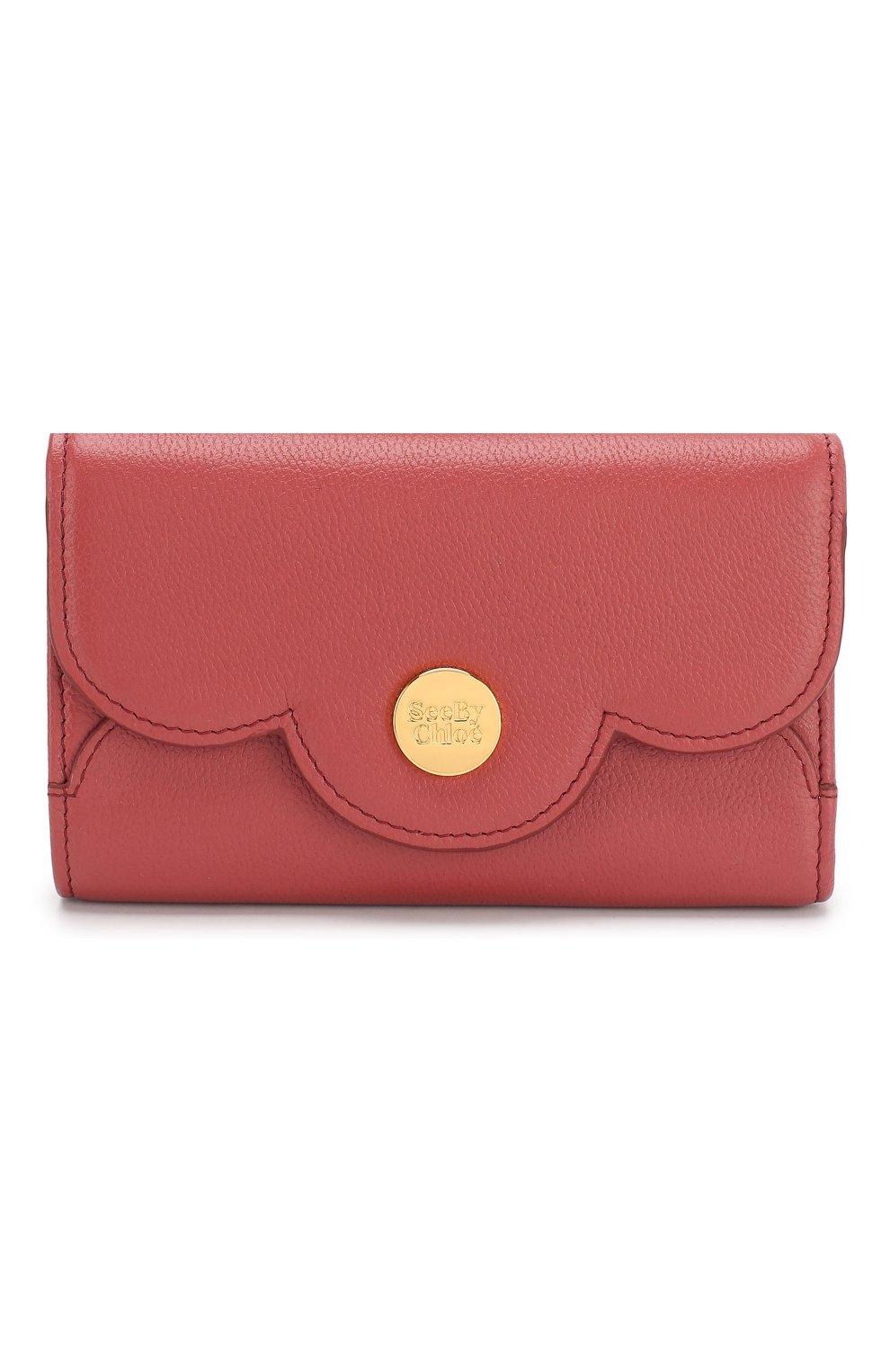 Женские кожаный кошелек SEE BY CHLOÉ розового цвета, арт. CHS18UP784388 | Фото 1