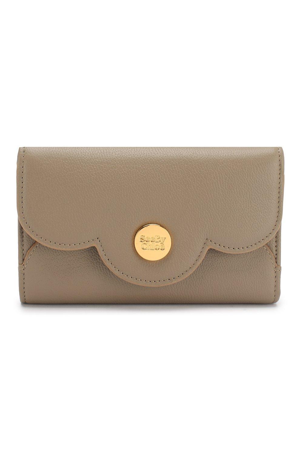 Женские кожаный кошелек SEE BY CHLOÉ серого цвета, арт. CHS18UP784388 | Фото 1