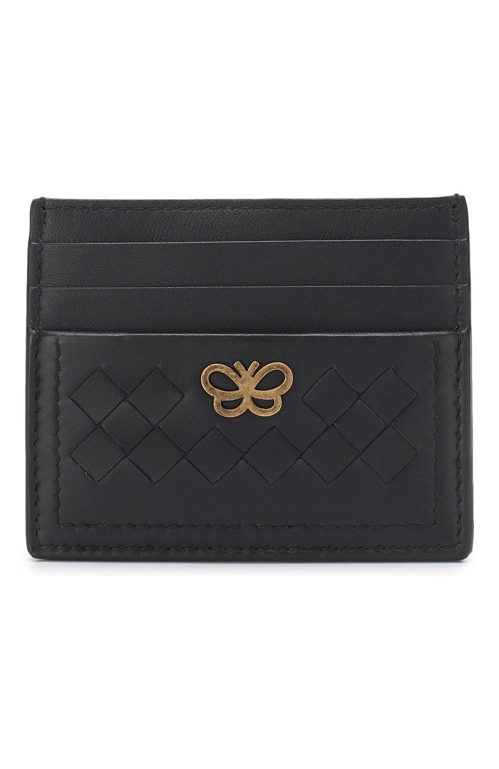 Кожаный футляр для кредитных карт Bottega Veneta синего цвета | Фото №1