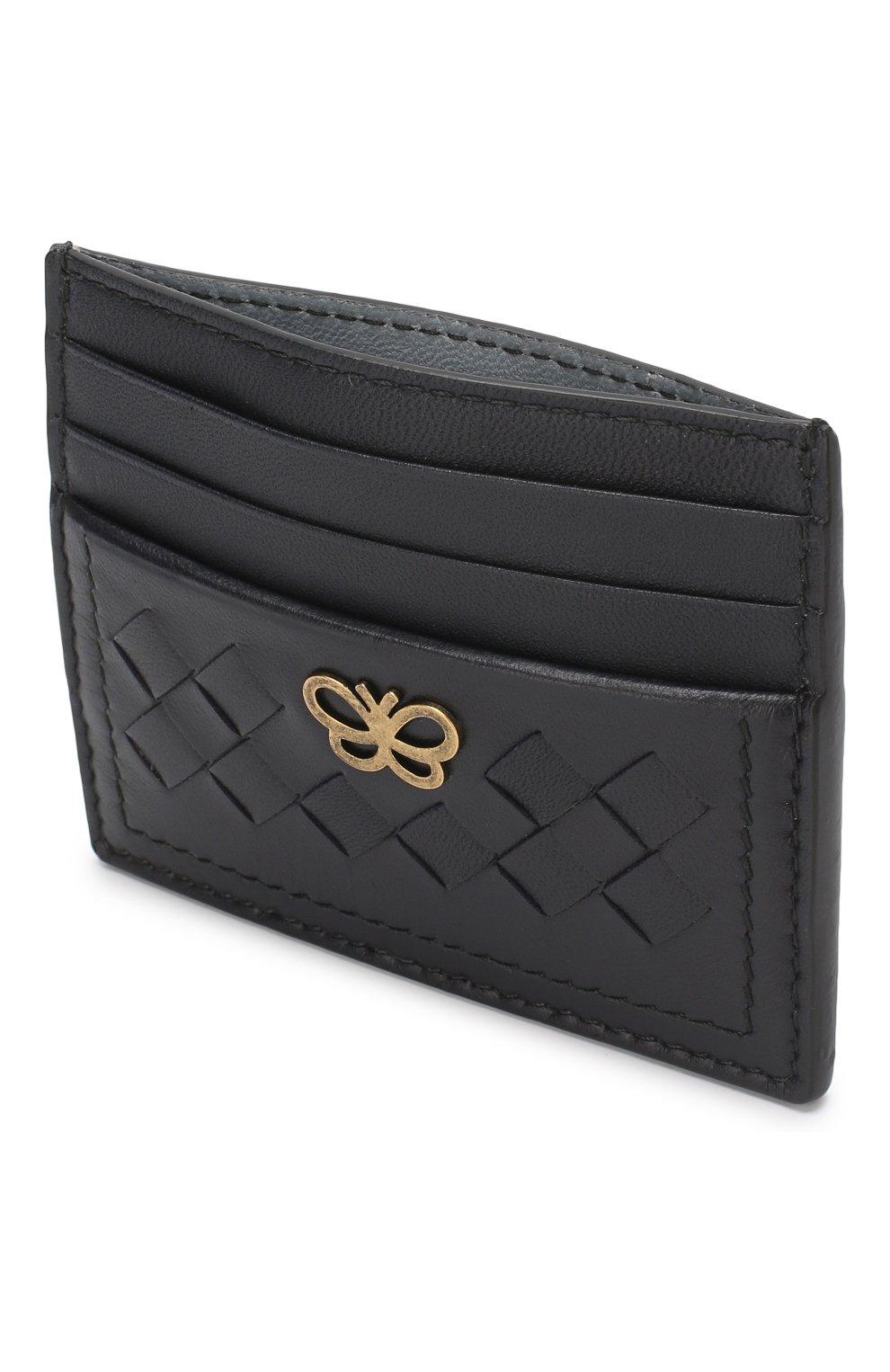 Кожаный футляр для кредитных карт Bottega Veneta синего цвета | Фото №3