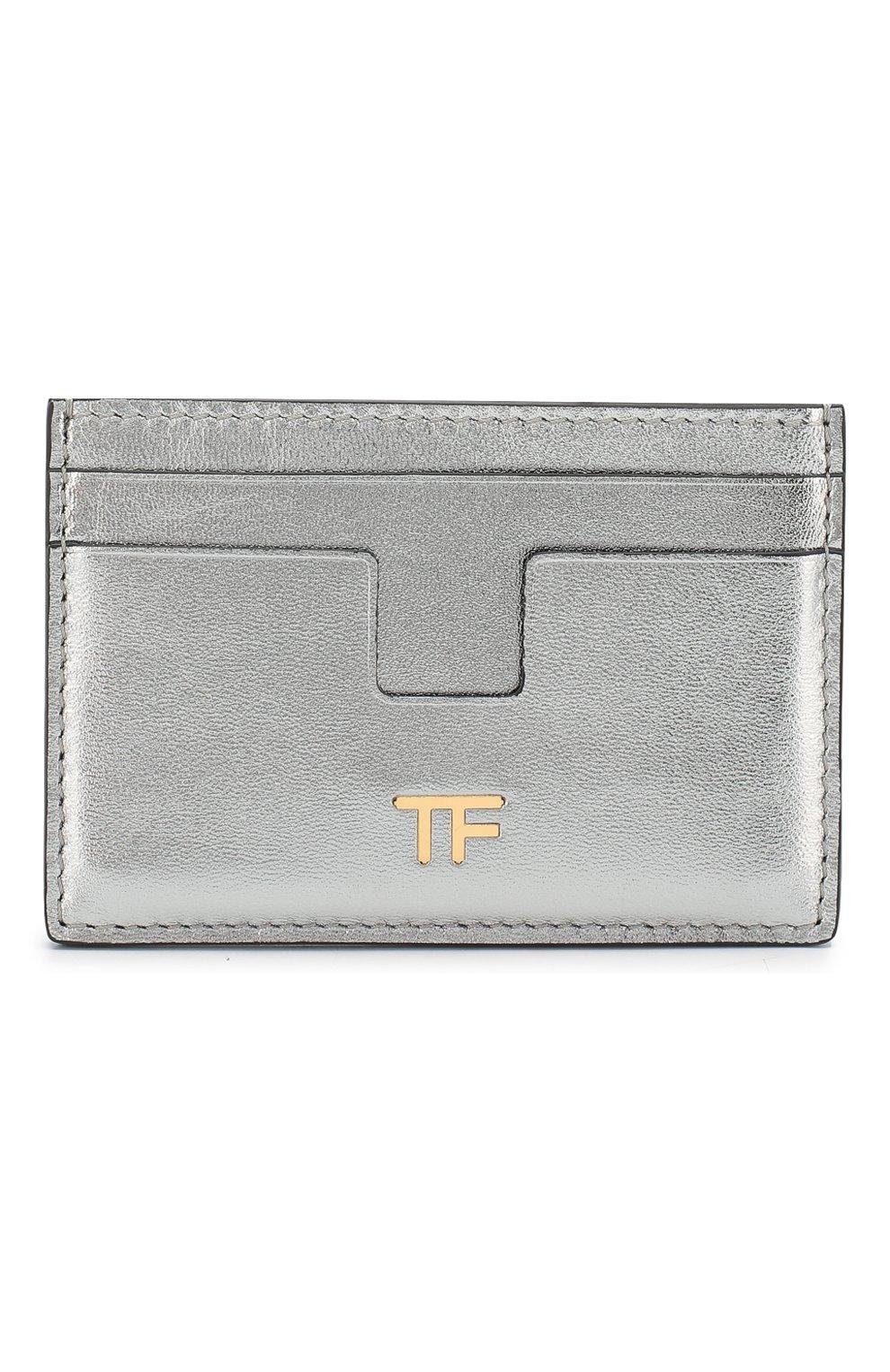 Кожаный футляр для кредитных карт Tom Ford серебряного цвета   Фото №1