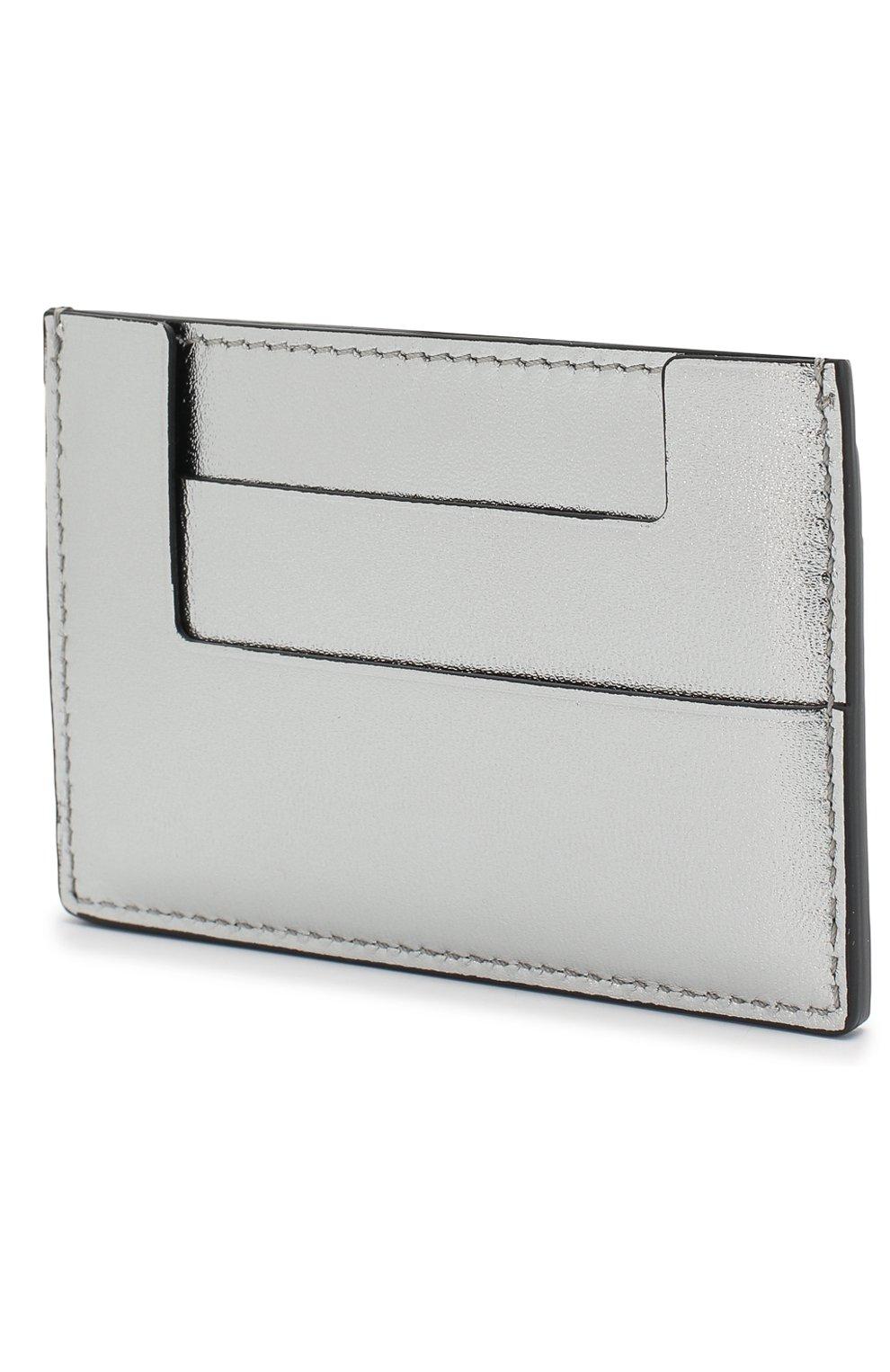 Кожаный футляр для кредитных карт Tom Ford серебряного цвета   Фото №2