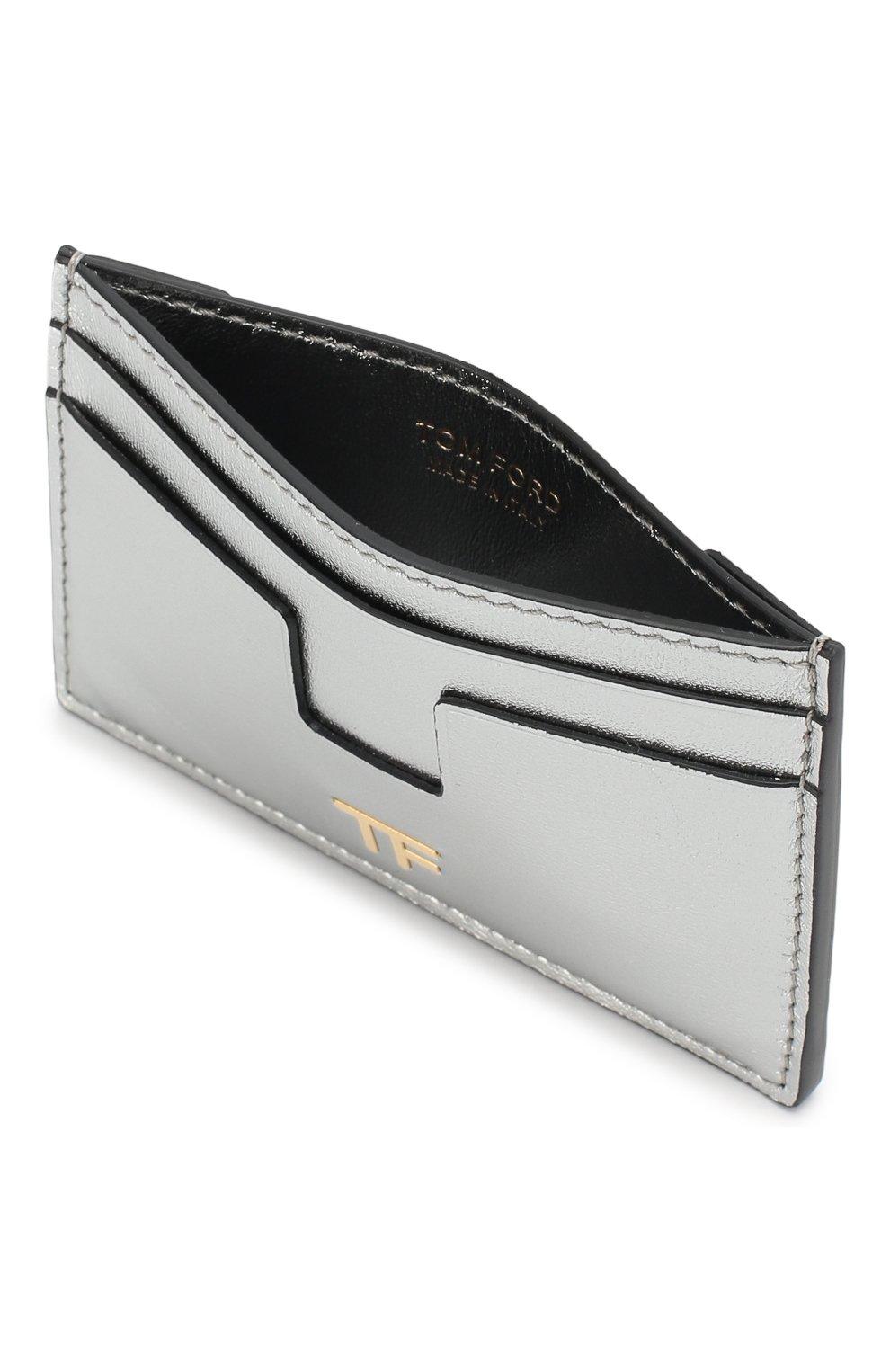 Кожаный футляр для кредитных карт Tom Ford серебряного цвета   Фото №3